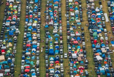 Aerial view of Boots & Hearts Camping Festival