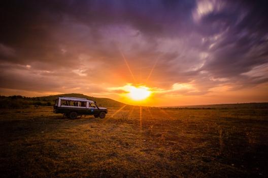 Sunset in Kenya on Safari