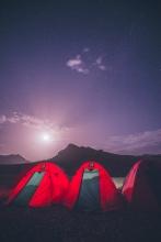 Hiking through Atlas Mountains of Morocco at night