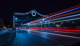 Long exposure with streetcar on Queen Viaduct Bridge in Toronto