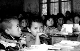 Boy in class in Waer, China