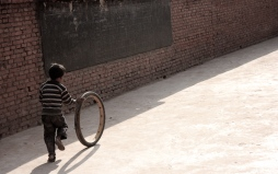 Boy and his tire