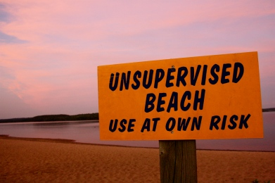 The beach has risks.