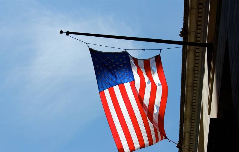 American flag in the sun, Boston