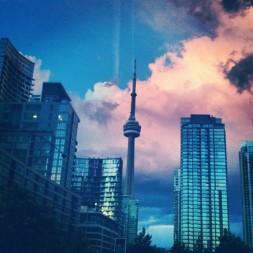 The CN Tower through an Instagram lens. Downtown Toronto.
