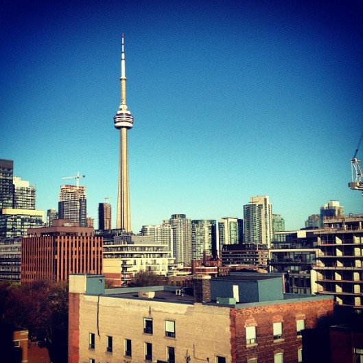 The CN Tower through an Instagram lens. Downtown Toronto.