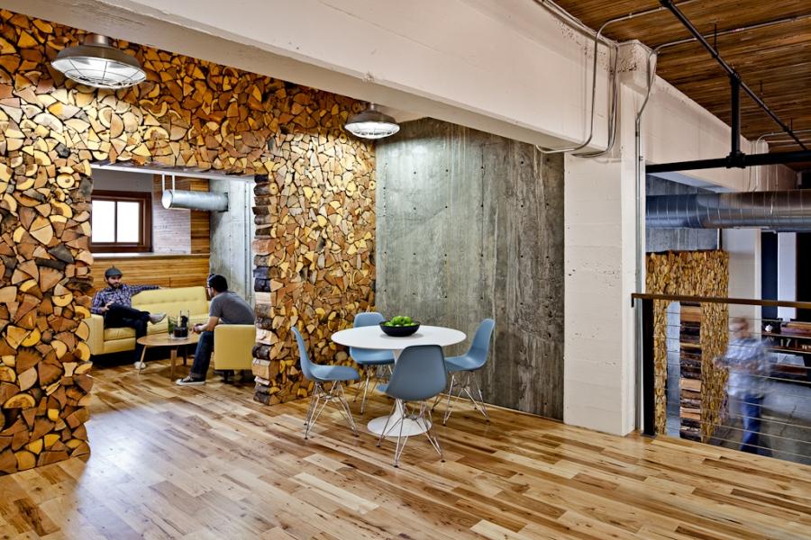 Urban lumberjack: A shot of Parliament Studios in Portland.