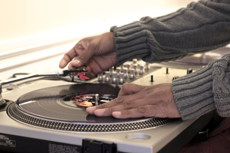 DJ M-Rock at the Turntables