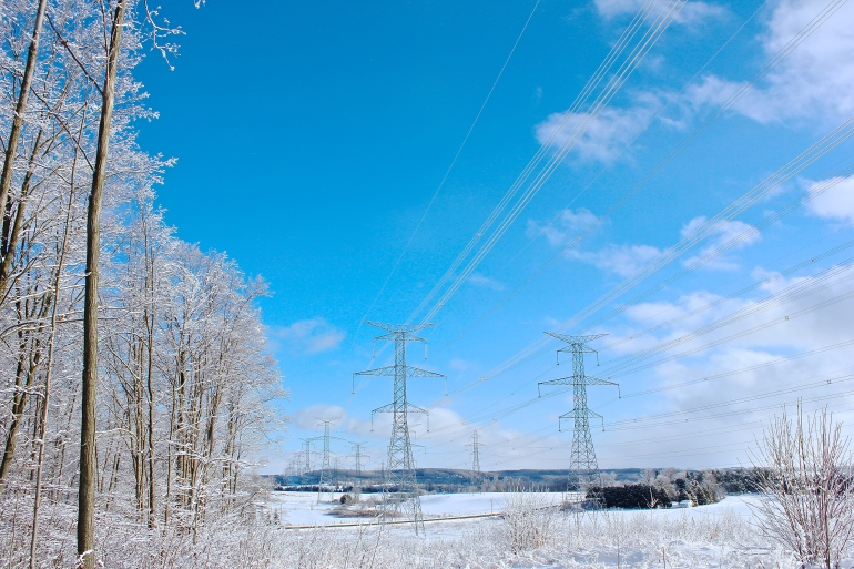 Snow-covered hydro lines.