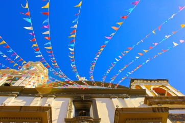 Flags on the blue sky