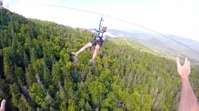 Zip lining at Tremblant.
