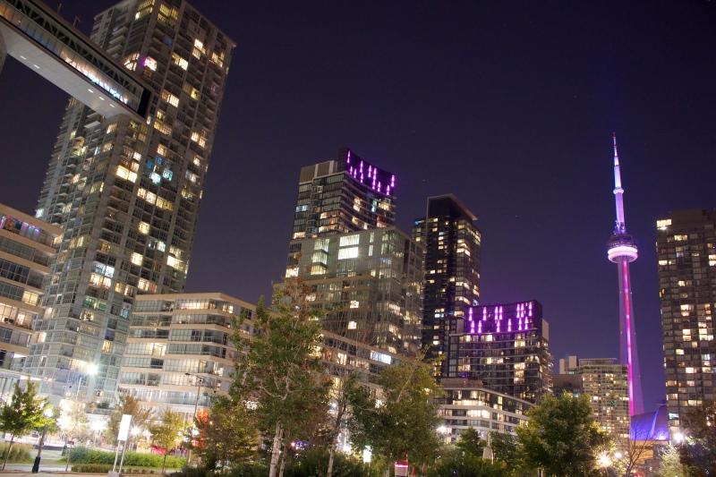 Condoland at night in Toronto.