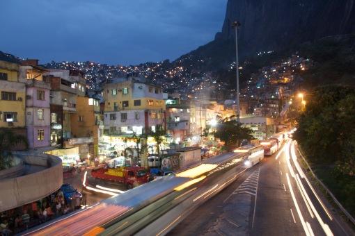 Rocinha Favela at night.