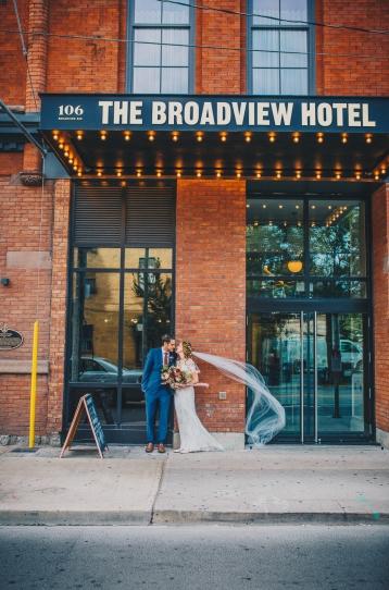 Outside Broadview Hotel Wedding Couple