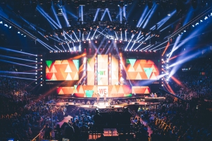 Wilson and Jackson, Maasai Warriors and the We Day stage.