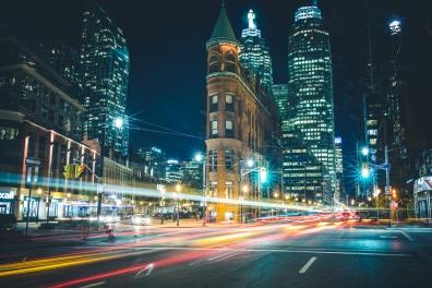 Toronto's Gooderham Building long exposure at night.