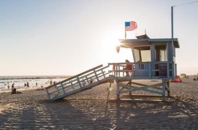 Venice Beach, Calfornia at Sunset Baywatch Booth