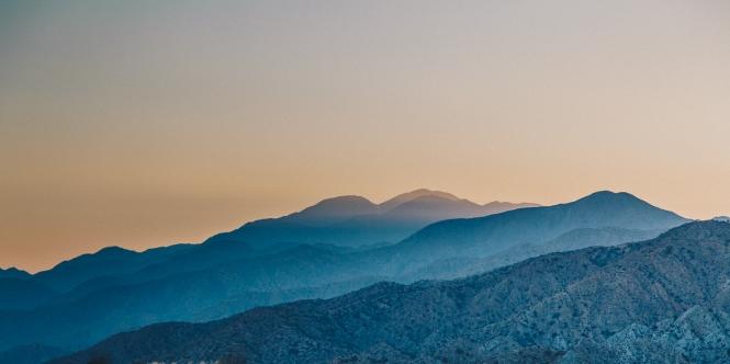 Rolling hills of Joshua Tree at Sunset