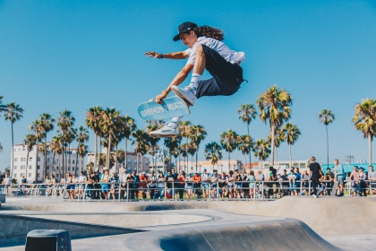 Skaters in Venice Beach Skatepark, California
