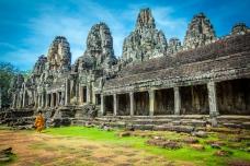 Tomb Raider, Angkor Wat, with a walking Monk