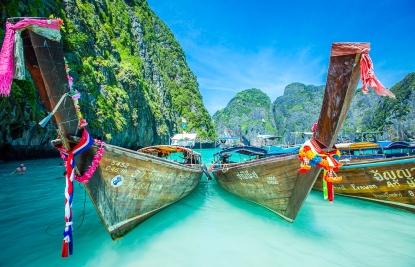 Longboats at Maya Beach in Thailand. Beautiful place.