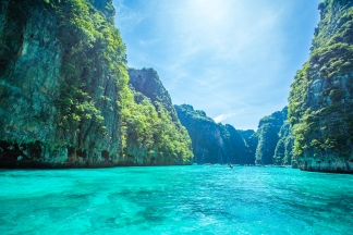 Boat Ride Through Phi Phi Islands in Thailand