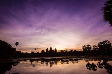 Angkor Wat in Cambodia at Sunrise.