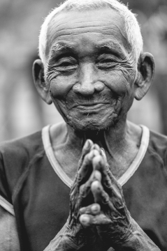 A moment with a village elder in Cambodia