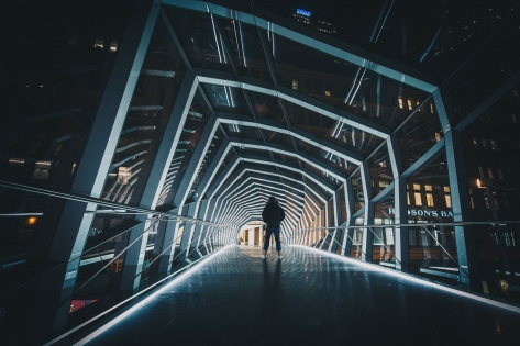 Toronto's Eaton Centre Walkway at Night