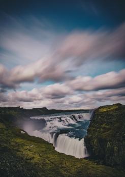 Gullfoss Waterfall Iceland Long Exposure