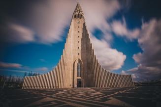 The Classic Hallgrímskirkja Church in Reykjavik, Iceland.