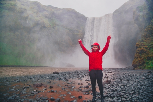 The famous Skógafoss Waterfall in Iceland in the pouring rain