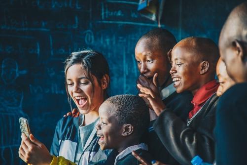 Jenna Ortega and school kids in Kenya