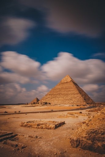 Long Exposure of Ancient Pyramids of Giza, Egypt