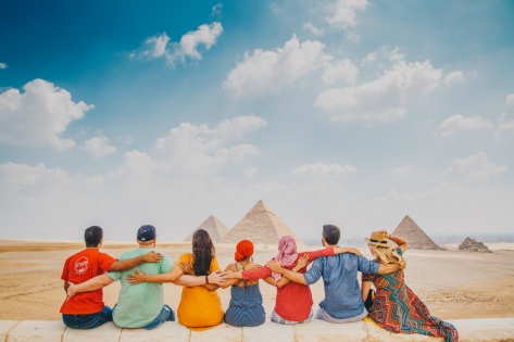 Intrepid Travel group at the Great Pryramids, Cairo, Egypt.