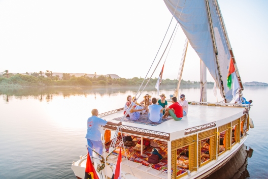 Floating down the Nile in Egypt.