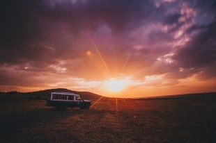 Long Exposure of Sunset in Maasai Mara, Kenya