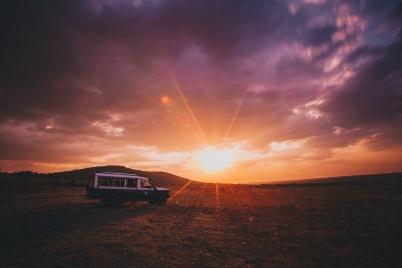 Long Exposure of Sunset in Maasai Mara, Kenya