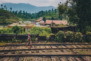 Walks along train tracks in Sri Lanka