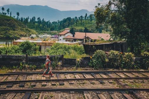 Walks along train tracks in Sri Lanka