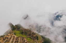 Reaching Macchu Picchu in the fog.